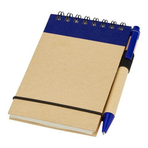 Bloc de notas con bolígrafo Zuse natural-azul marino | sin montaje de publicidad | no disponible | no disponible | no disponible