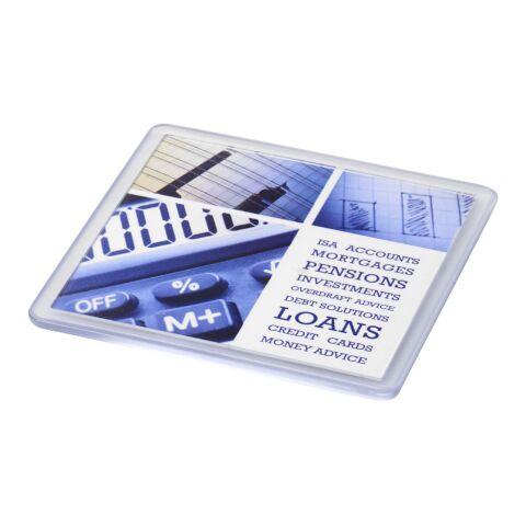Posavasos de plástico cuadrado Ellison con papel insertado