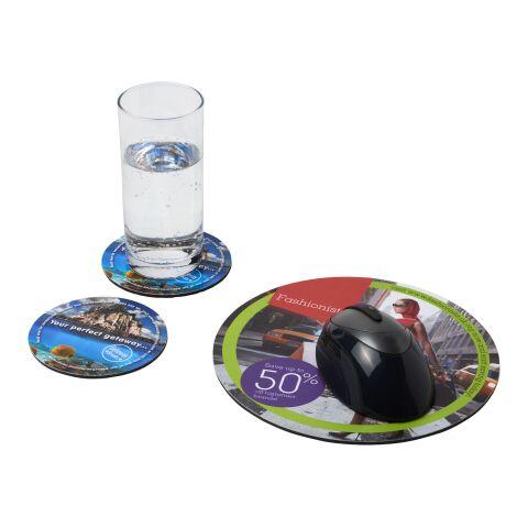 Combo 5 de alfombrilla para ratón y juego de posavasos Q-Mat® bronce negro | sin montaje de publicidad | no disponible | no disponible