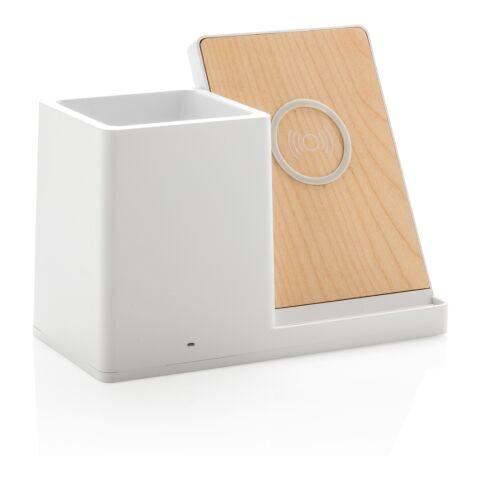 Cargador 5W inalámbrico Ontario con porta-bolígrafos blanco | sin montaje de publicidad | no disponible | no disponible