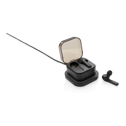 Auriculares TWS en caja de carga inalámbrica negro | sin montaje de publicidad | no disponible | no disponible