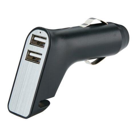 Cargador doble para coche con cúter y martillo negro-plata | sin montaje de publicidad | no disponible | no disponible | no disponible