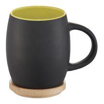 """Taza de cerámica con base o tapa de madera """"Hearth"""""""
